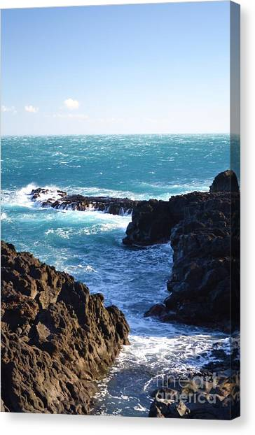 Sunny Day And Stormy Sea Canvas Print