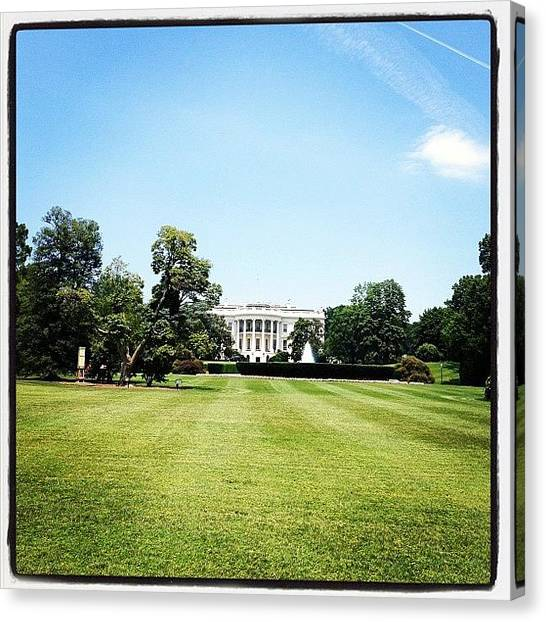 White House Canvas Print - Sunny Day White House by Kathryn  Lamar