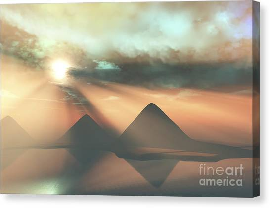 Archeology Canvas Print - Sunrays Shine Down On Three Pyramids by Corey Ford