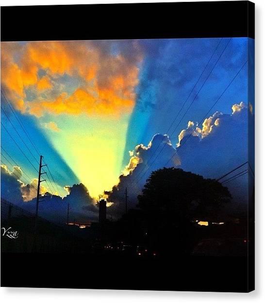 Driving Canvas Print - #sun#rays#sunset#driving by Yzza Sebastian