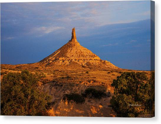 Canvas Print featuring the photograph Sunrise At Chimney Rock by Edward Peterson