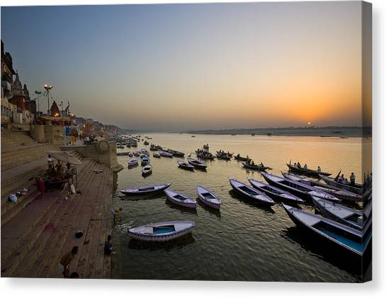 Sunrise At Ganges River Canvas Print