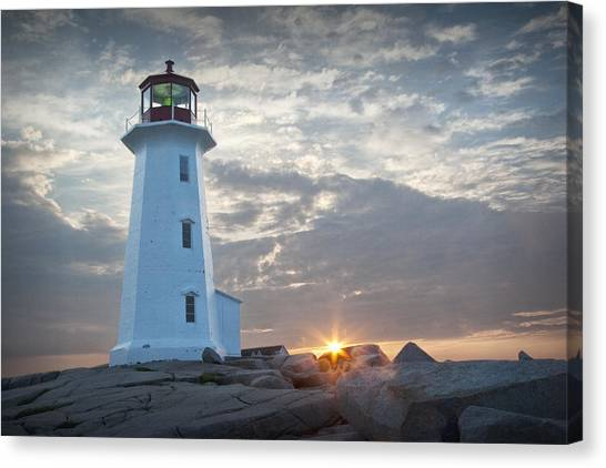 Sunrise At Peggys Cove Lighthouse In Nova Scotia Number 041 Canvas Print