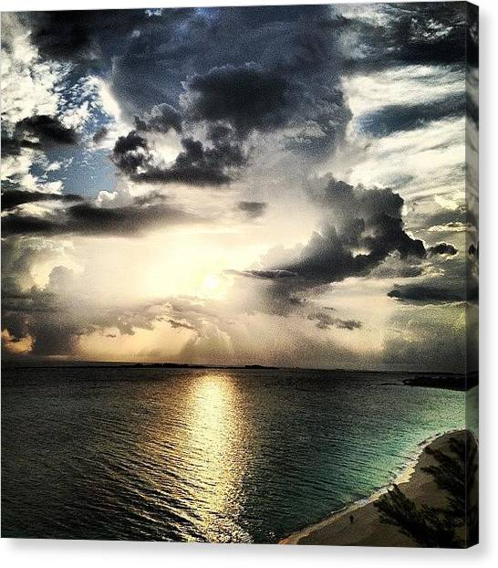 Beach Sunrises Canvas Print - #sunrise At The #bahamas... #sky #igsg by Freddy Moncada