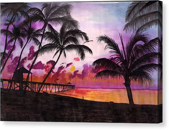 Sunrise At The Deerfield Beach Pier Canvas Print