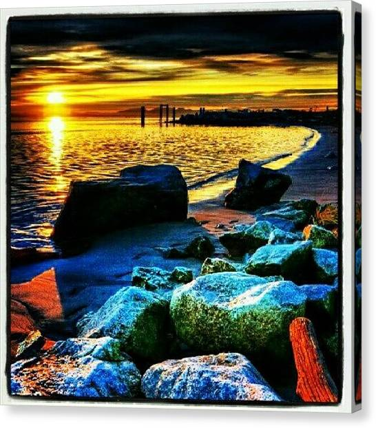 Beach Sunrises Canvas Print - #sunrise #beach # #beauty #colors by Chill Meister