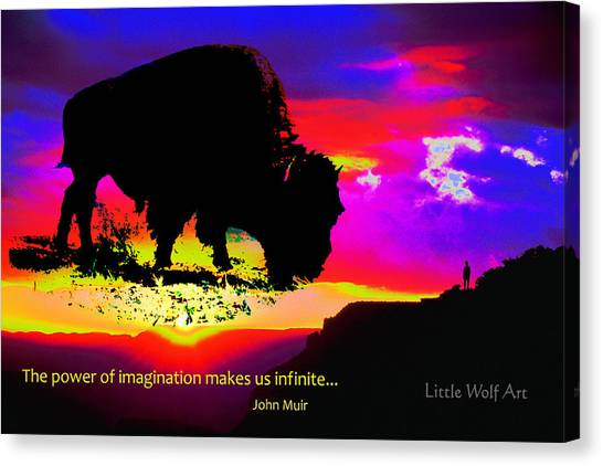 Sunrise Bison Collage Canvas Print