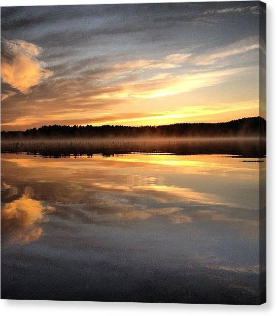 Lake Sunrises Canvas Print - #sunrise by Caelan Mulvaney