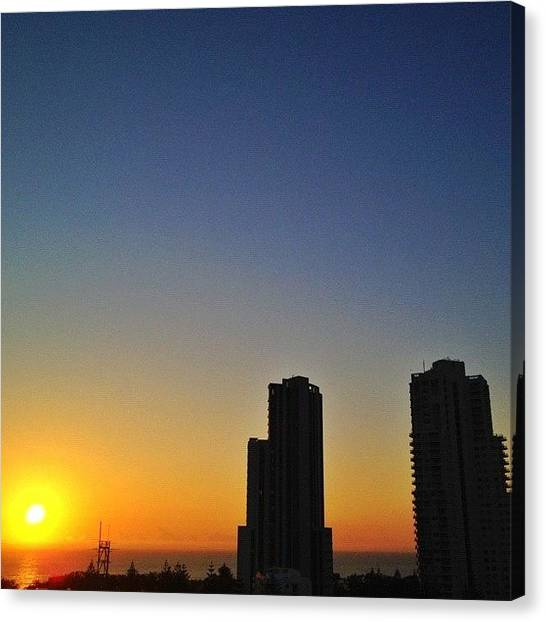 Sunrise Horizon Canvas Print - #sunrise Here In #goldcoast #australia by Gabriel Kang