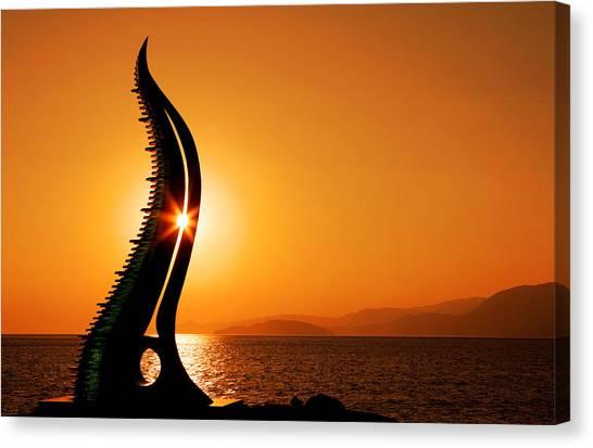 Sunrise In Agios Nikolaos Canvas Print