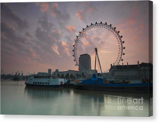 Sunrise London Eye Canvas Print by Donald Davis