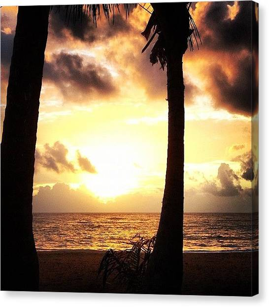 Beach Sunrises Canvas Print - Sunrise @luquillo #sunrise #goodvibes by Edda Garcia