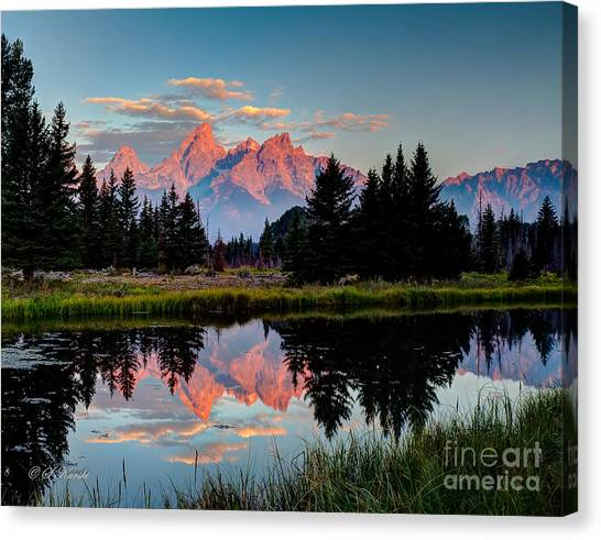 Sunrise On The Tetons Canvas Print