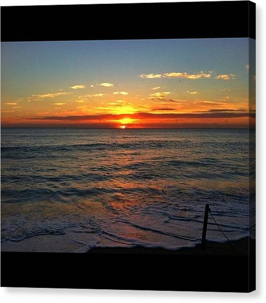Beach Sunrises Canvas Print - #sunrise #over #atlantic #ocean by Alexandr Dobrovan