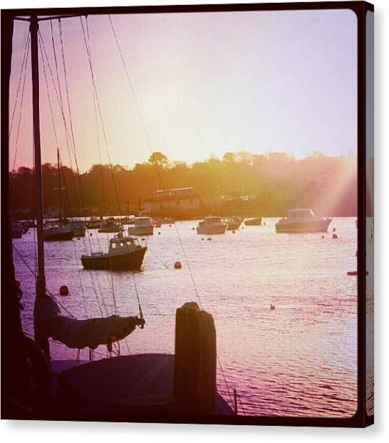 Marines Canvas Print - Sunrise Over Harbour. #sunrise #sun by Phil De Montjoie Heard