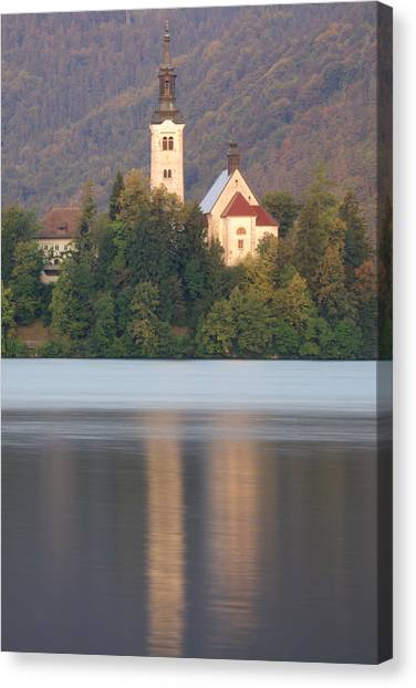 Sunrise Over Lake Bled And The Island Church Canvas Print