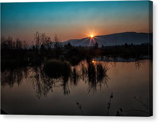 Sunrise Over The Beaver Pond Canvas Print