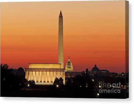 Canvas Print featuring the photograph Sunrise Over Washington Dc by Brian Jannsen