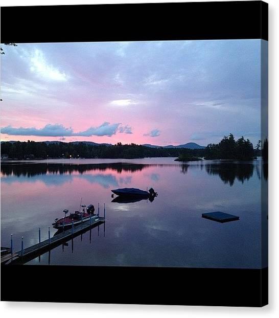 Lake Sunrises Canvas Print - #sunrise #pink #reflection #water by Danielle McNeil