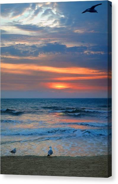 Sunrise With The Gulls Canvas Print