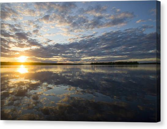 Sunset Horizon Canvas Print - Sunset And Clouds On The Winisk River by Skip Brown