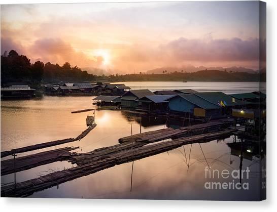 Pontoon Canvas Print - Sunset At Fisherman Villages  by Setsiri Silapasuwanchai