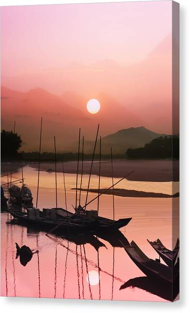 Contour Canvas Print - sunset at Mae Khong river by Setsiri Silapasuwanchai