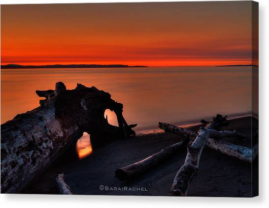 Sunset At Marina Beach Park In Edmonds Washington Canvas Print by Sarai Rachel