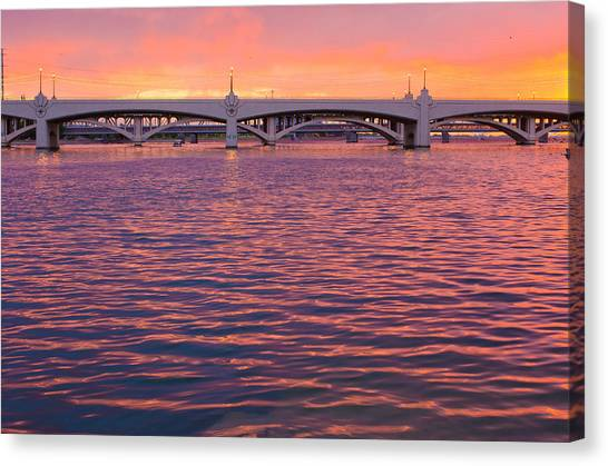 Sunset At Tempe Town Lake Canvas Print by Tony Marinella