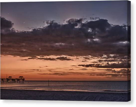 Sunset At The Beach Canvas Print by Chuck Bowser
