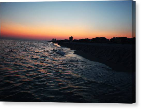 Sunset At The Gulf Shores Canvas Print