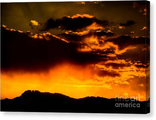 Sunset Behind Horsetooth Rock Canvas Print