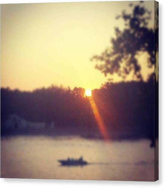 Wisconsin Canvas Print - Sunset By Boat by Amber Abreu
