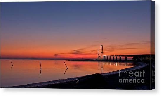 Sunset By Bridge Canvas Print