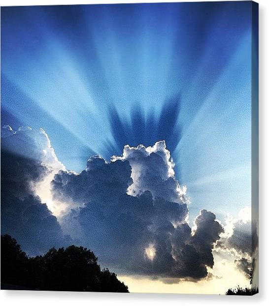 Rain Canvas Print - #sunset #clouds #weather #rays #light by Amber Flowers
