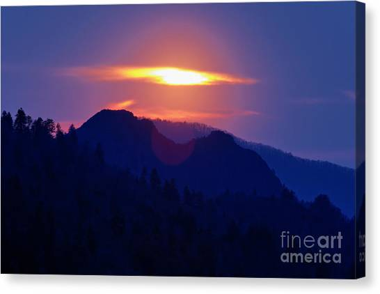 Chimney Tops Canvas Print - Sunset From Morton's Overlook - D005382 by Daniel Dempster