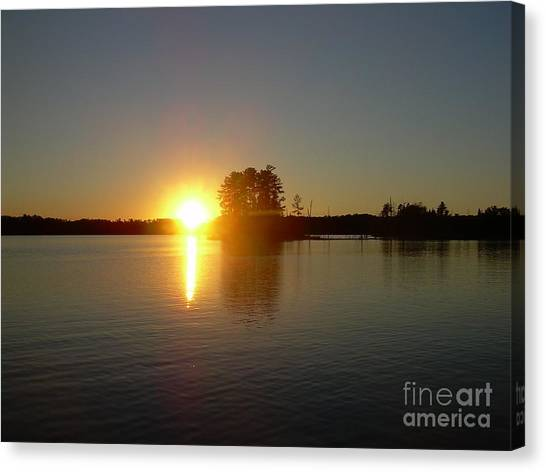 Sunset Juggler Lake Island Canvas Print