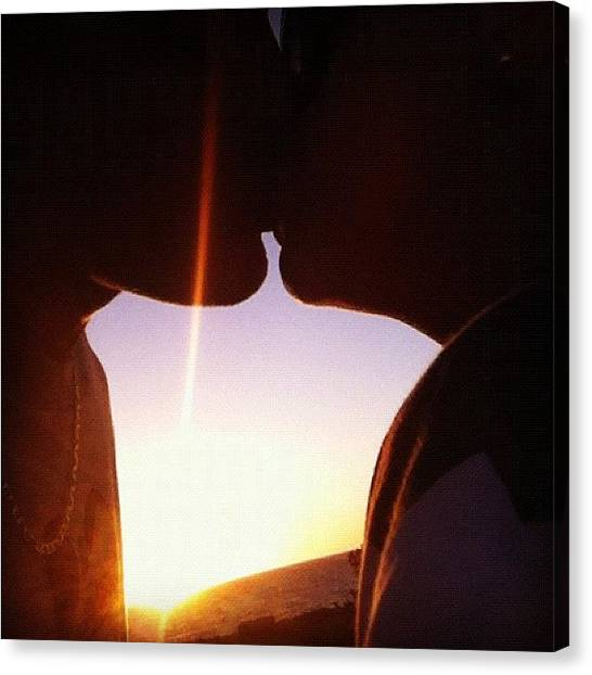 Kiss Canvas Print - #sunset #kiss #iphonography by Kirk Roberts