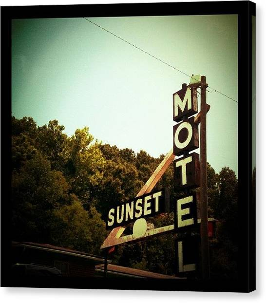 Athens Canvas Print - Sunset Motel by Jeannie Starks