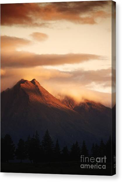 Mountain Sunsets Canvas Print - Sunset Mountain by Pixel Chimp