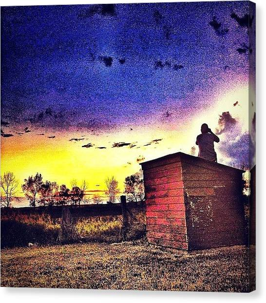 Hunting Canvas Print - #sunset #northdakota #sun #clouds by Emily Nielsen