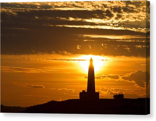 University Of Connecticut Canvas Print - Sunset Obelisk by David Freuthal