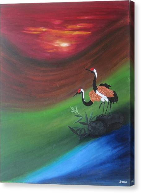 Sunset-oil Painting Canvas Print by Rejeena Niaz