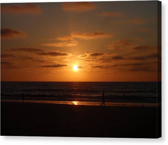 Sunset On A Beach In San Diego Ca Canvas Print by Brittany Roth