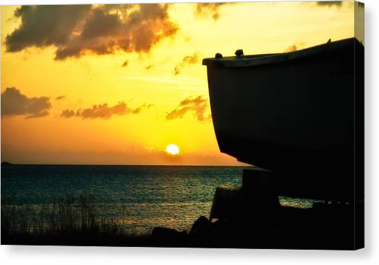 Sunset On Boat Canvas Print