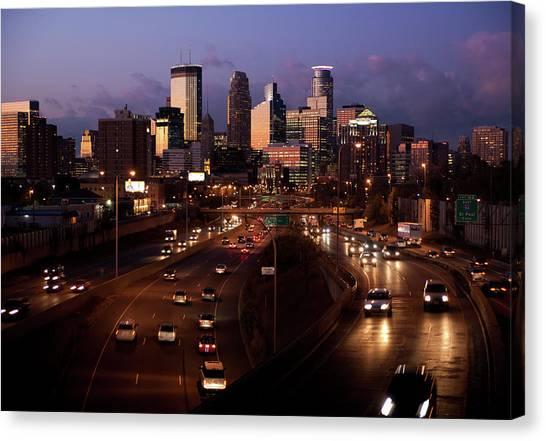 Sunset On Minneapolis Canvas Print