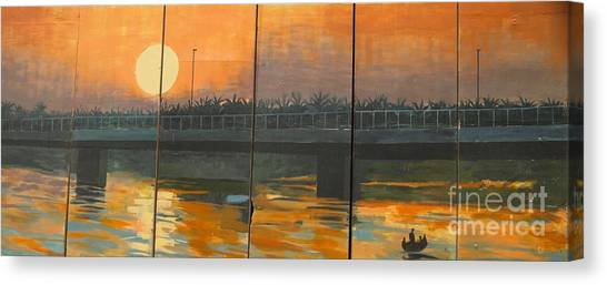 Sunset On The Canals Canvas Print by Unknown - Local Iraqi National