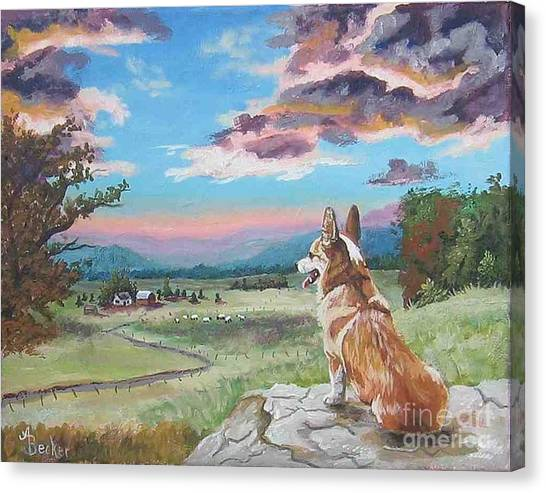 Sunset On The Corgi Farm Canvas Print by Ann Becker