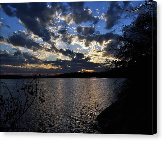 Sunset On The Lake Canvas Print by Timothy Johnson