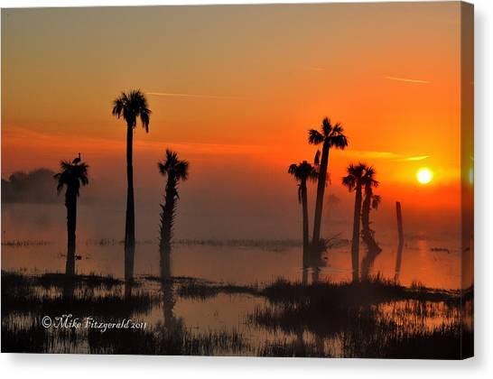 Sunset On Viera Wetlands Canvas Print
